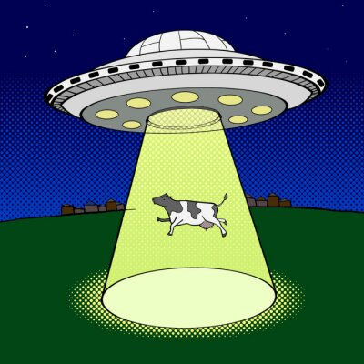 Poster Ufo takes cow pop art style vector
