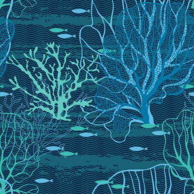 Poster Undersea world. Seamless vector pattern with sea plants and fish