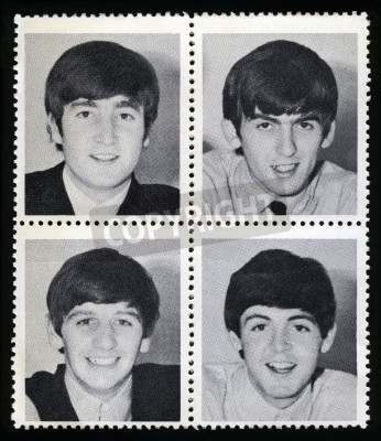 Poster UNITED KINGDOM - CIRCA 1963: Vintage Merchandise stamps each portraying an image of a member of 'The Beatles', circa 1963.