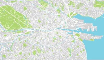 Poster Urban city map of Dublin, Ireland