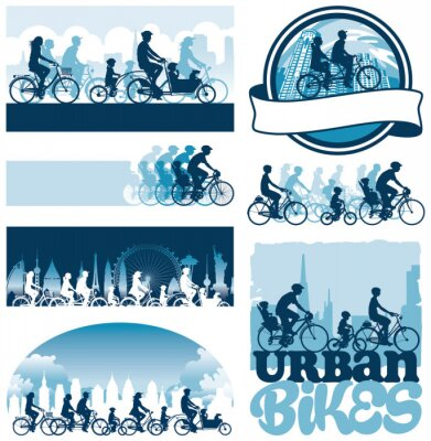 Poster Urban cyclists editable vector silhouettes labels