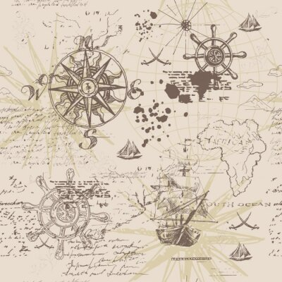 Poster Vector abstract seamless background on the theme of travel, adventure and discovery. Old hand drawn map with vintage sailing yachts, wind rose, routs, nautical symbols and handwritten inscriptions