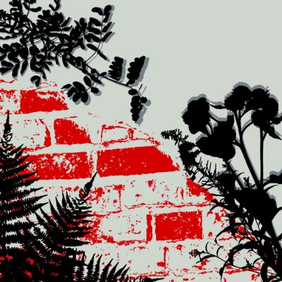 Vector background. Brick wall and beautiful plants