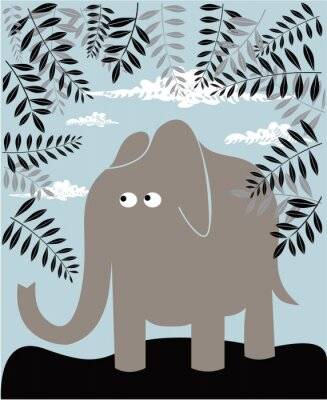 Poster Vector background with elephant and foliage