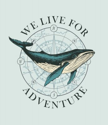 Poster Vector banner with big hand-drawn whale on the background of wind rose and old map in retro style. Illustration on the theme of travel, adventure and discovery with words We live for adventure