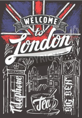 Poster vector chalk great britain flag and london