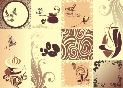 Poster Vector coffee backgroundwith butterfly