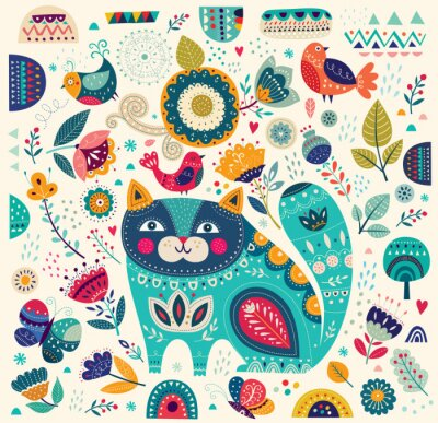 Poster Vector colorful illustration with beautiful cat, butterflies, birds and flowers