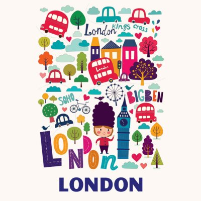 Poster Vector colorful pattern with symbols of London