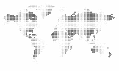 Poster Vector dotted world map. isolated background. Flat Earth, gray map template for web site pattern, anual report, inphographics. Globe similar worldmap icon. Travel worldwide, map silhouette backdrop