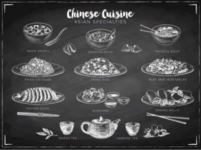 Poster Vector hand drawn illustration with chinese food.