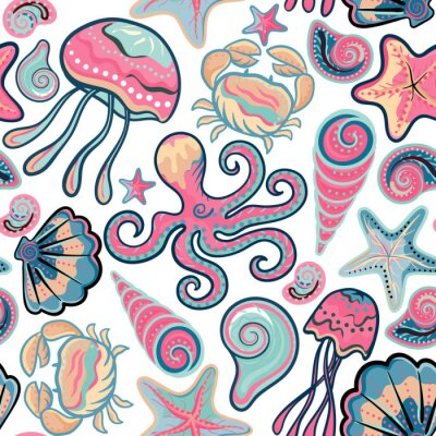 Poster Vector hand drawn seamless pattern with jellyfish, shells, starfish, octopus and crabs. Ocean background