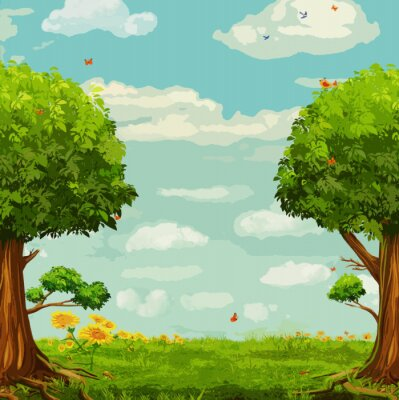 Poster Vector illustration of  beautiful woodland scene with trees and sky