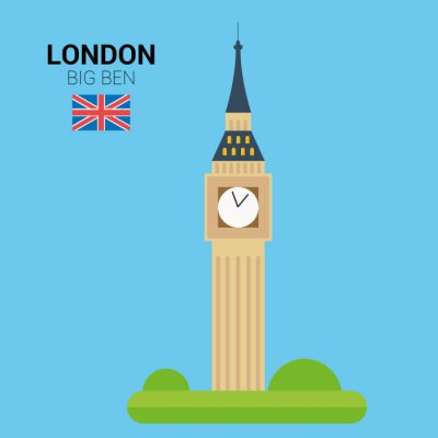 Poster Vector illustration of Big Ben (London, United Kingdom). Monuments and landmarks Collection. EPS 10 file compatible and editable.