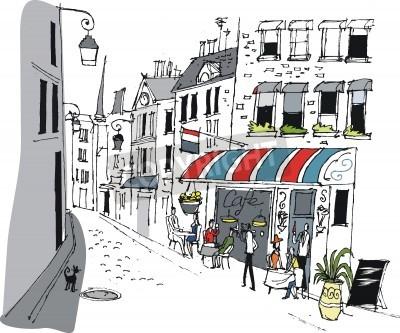 Poster Vector illustration of cafe in Paris, France.