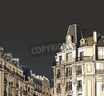Poster Vector illustration of facades in Paris in a stormy weather
