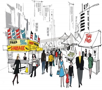 Poster Vector illustration of street market, New York.