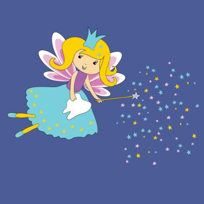 Poster Vector illustration of Tooth fairy with magic wand and stars on blue background. First tooth certificate.