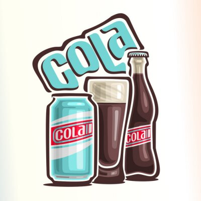 Poster Vector illustration on the theme of the logo for cola, consisting of can with cola, glass cup filled with cola and closed glass bottle of cola