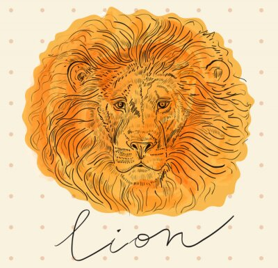 Poster Vector illustration with lion's head