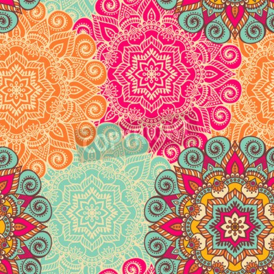 Poster Vector Mandala. Round ornament in ethnic style. Hand draw