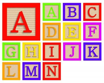 Poster Vector modern wooden alphabet blocks set