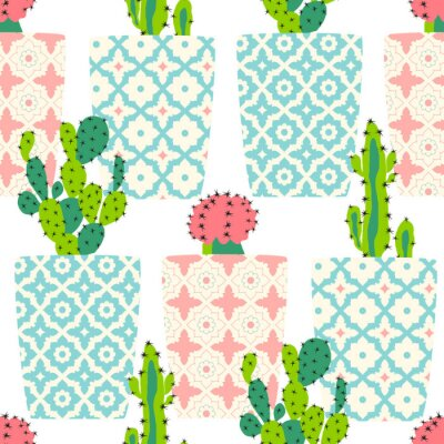 Poster Vector pattern with cacti. Cute cactus flowers in ornamental pots. Hand drawing illustration.