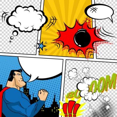 Poster Vector Retro Comic Book Speech Bubbles Illustration.