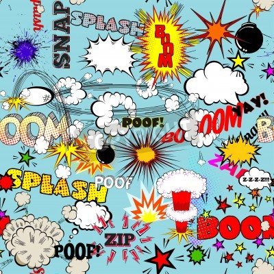 Poster Vector Retro Seamless Pattern with Comic Speech Bubbles, Labels, Logos and Comic Book Words