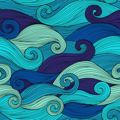 Poster Vector seamless pattern with abstract waves
