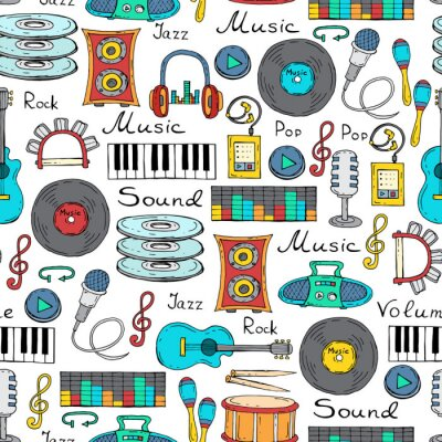 Poster Vector seamless pattern with hand drawn symbols of music