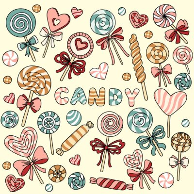 Poster Vector set with candy and lollipops