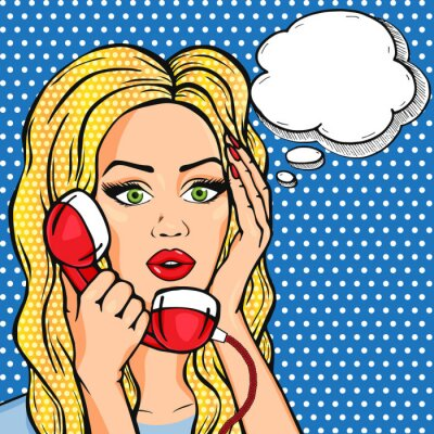 Poster Vector shocked woman on phone with thought bubble, vector pop art comic style