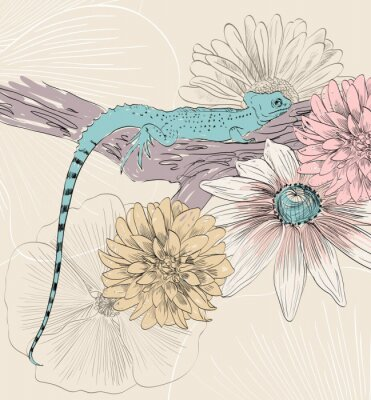 Poster vector sketch of lizard with cute flowers