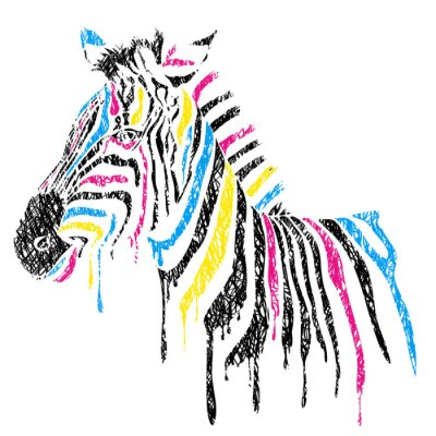 Poster Vector zebra with colored stripes, sketch style