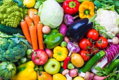 Poster Vegetables and fruits background.