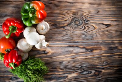 Poster vegetables on the wooden background