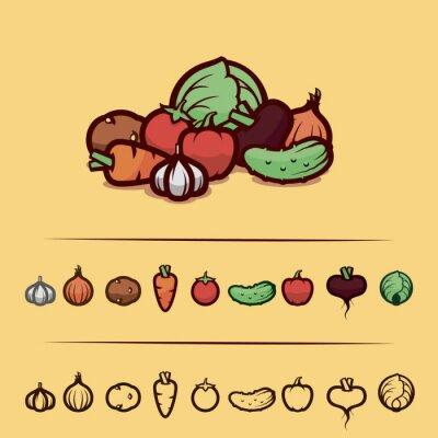 Poster vegetables set