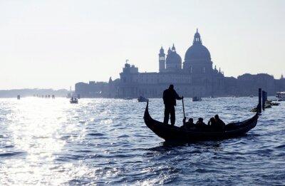 Poster Venedig, Canal Grande mit Gondel und Kirche Santa Maria della Salute