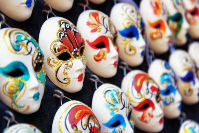 Poster Venetian full-face masks for Carnival in shop, Venice, Italy