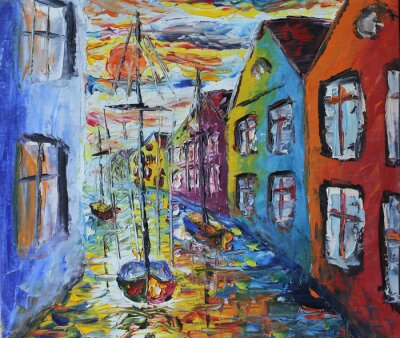 Poster Venice boat floating in the streets, oil painting