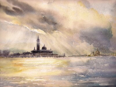 Poster Venice,Italy at sunset.Picture created with watercolors.