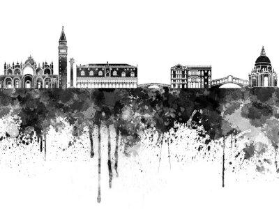 Poster Venice skyline in black watercolor