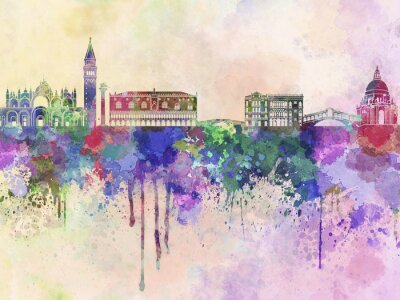 Poster Venice skyline in watercolor background