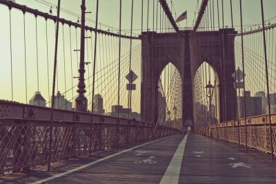 Poster View along the pedestrian walkway, Brooklyn Bridge