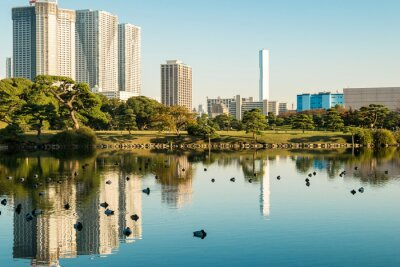 Poster View of tokyo cityscape with park