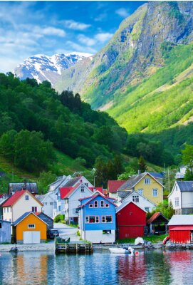 Poster Village and Sea view on mountains in Geiranger fjord, Norway