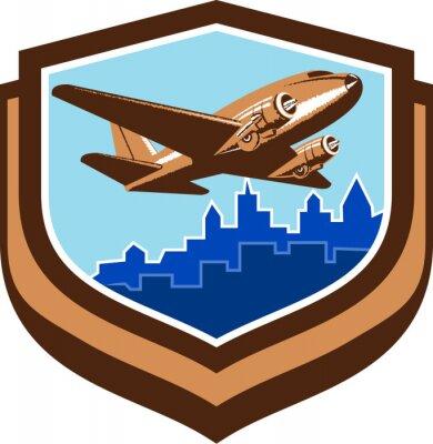 Poster Vintage Airplane Take Off Cityscape Shield Retro