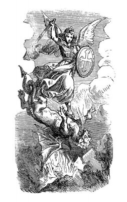 Poster Vintage antique illustration and line drawing or engraving of biblical Archangel Michael fighting and defeating Satan as dragon. Revelation 12:7-9.