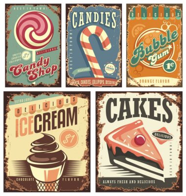Poster Vintage candy shop collection of tin signs